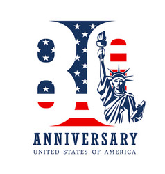anniversary eighty year american flag vector image