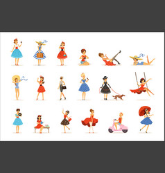beautiful retro girls characters set young women vector image