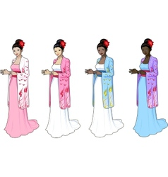 Beautiful woman in japaneese-styled wedding dress vector image