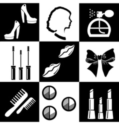 Black and white beauty and makeup flat icons vector image