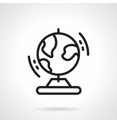Black simple line globe icon vector