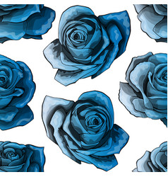 blue roses vintage seamless pattern blue rose vector image