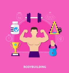 bodybuilding flat composition vector image