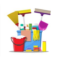 Bottle of detergent sponge soap and rubber gloves vector
