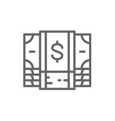 bundle money cash dollar banknote line icon vector image