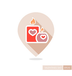 Burning candle with hearts pin map icon vector