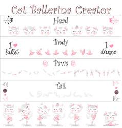 Cat ballerina creator a set elements for vector