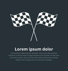 checkered flags icon crossed black and white vector image