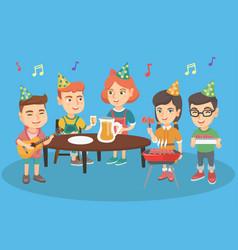 children having fun at outdoor birthday party vector image