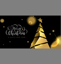 christmas and new year 3d gold pine tree card vector image