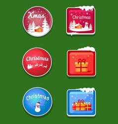 christmas holiday sticker set vector image