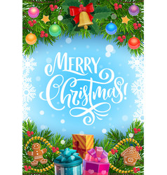 christmas tree and gifts garland with xmas bell vector image