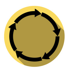 cirkular arrows sign flat black icon with vector image