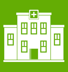 city hospital building icon green vector image