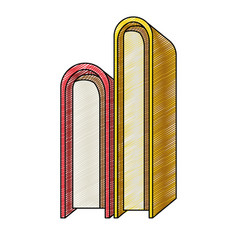 Color crayon stripe of stack pair of books vector