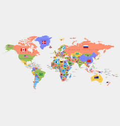 color world map with names countries and vector image