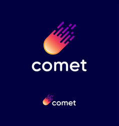 comet logo letters and fireball icon delivery vector image