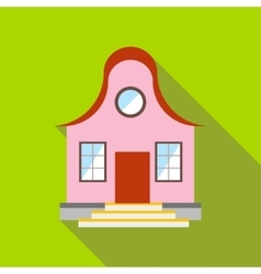 Cool pink house icon flat style vector