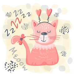 Cute sleeping cat bapink animal nursery vector