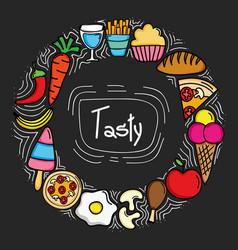 Delicious food circular frame icons vector
