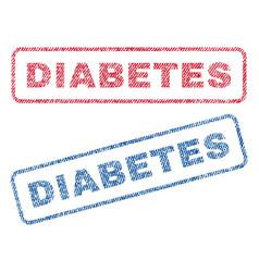 Diabetes textile stamps vector