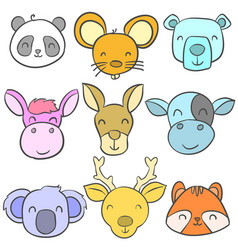 Doodle of animal cute style collection vector