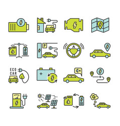Electric car outine icons set vector