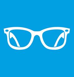 Eyeglasses icon white vector