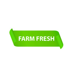 farm fresh green ribbon - label badge for eco vector image