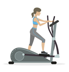 fitness girl on the elliptical trainer vector image