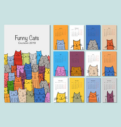 Funny cats design calendar 2019 vector