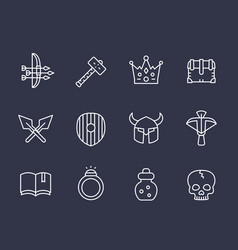 Game line icons set 2 armor crossbow arrows vector