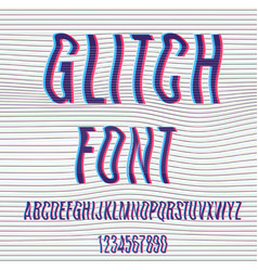 glitch font with distortion stereoscopic effect vector image