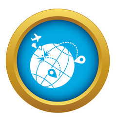 Global war migration icon blue isolated vector