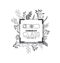 graduating lettering card with graduation diploma vector image