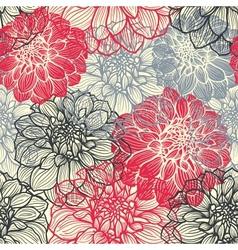 Hand-drawn flowers dahlia vector
