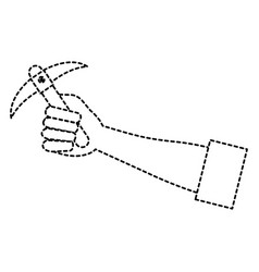 Hand human with pick mine tool icon vector
