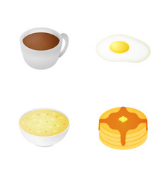 isometric breakfast icon set vector image