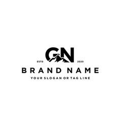 Letter gn mountain logo design vector
