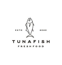 Line art tuna logo design vector
