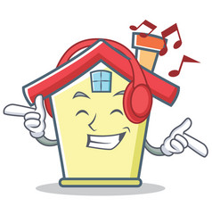 Listening music house character cartoon style vector