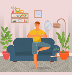 man doing yoga at home young happy man standing vector image