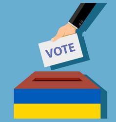 man throws a ballot paper into a ballot box vector image