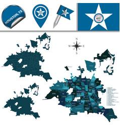Map houston tx with neighborhoods vector