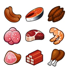 Meat food icons set vector image
