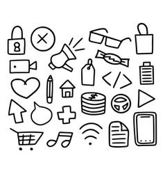 mega collection doodle items set hand-drawn vector image