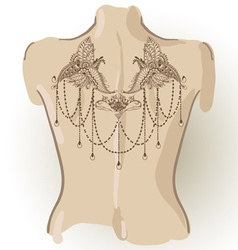 Mehndi tattoo template on her back vector image
