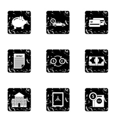 Money icons set grunge style vector