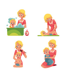 Mother washing baby in bath putting diaper on vector