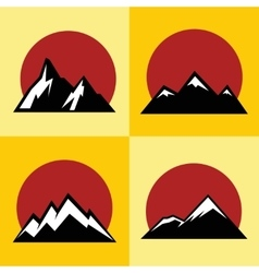 Mountain flat icons with red sun on yellow vector